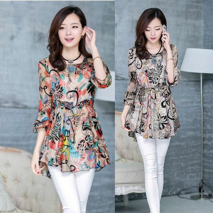 WOMENS Summer chiffon shirt printing Floral Half Sleeve Chiffon blouses S-XXL #oem #Blouse #Casual
