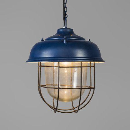 Nautisk taklampa 'Poseidon' Industriell blå/metall - Passande för LED / Inomhus