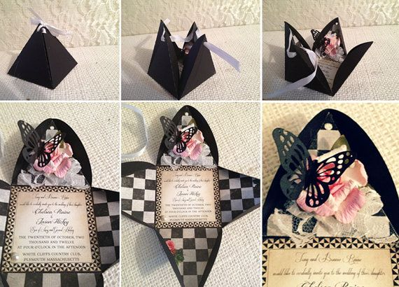 Surprise Pyramid Box Invitation, save the date, birthday Alice in Wonderland inspired theme. Flower and butterflies on Etsy, $4.59 AUD