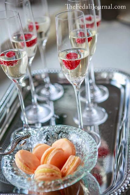 Champagne Brunch, Champagne with raspberries, Champaign Party, French Macarons, Champagne and Macarons | The Fedali Journal. Entertaining Ideas