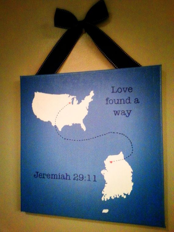 US to South Korea: Love Found A Way, Custom Hand painted travel map gallery wrapped canvas, Adoption  Art