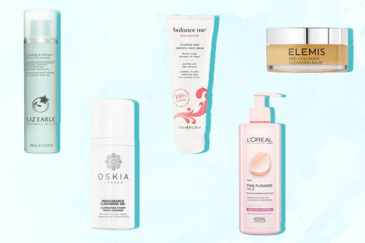 An image of 5 best selling skincare cleansers from left to right: Liz Earle Cleanser, Oskia Renaissance Cleansing Gel, BalanceMe Cleanse & Smooth Face Balm, L'Oreal Paris Fine Flowers Cleansing Milk, , Elemis Pro-Collagen Cleansing Balm