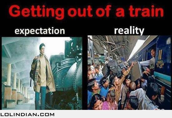 The reality of getting out of train - LOL Indian - Funny Indian Pics and images.  bollywood vs. reality lol