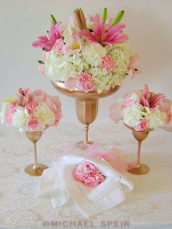 gold daiquiri vase flower arrangement diy could be cute for a bridal shower flowers pinterest centerpieces wedding and wedding centerpieces
