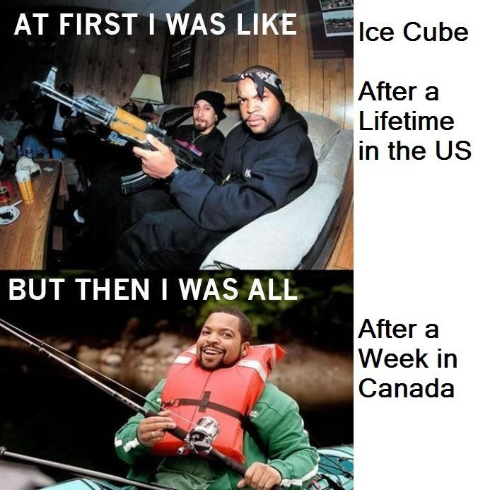 Ice cube in the us and then in canada random funny