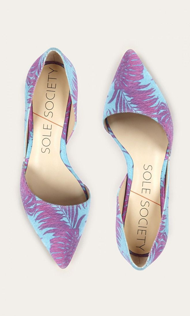 Suede mid heel d'Orsay pump in a blue raspberry tropical print