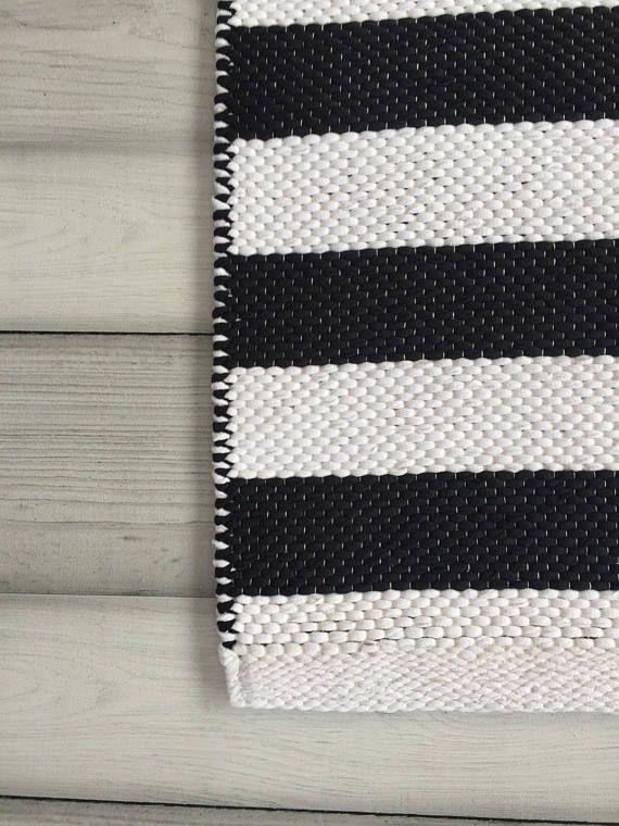 Black And White Striped Rug Runner Scandinavian Nursery Rug Scandinavian Rug Striped Rug Cotton Rag Rug