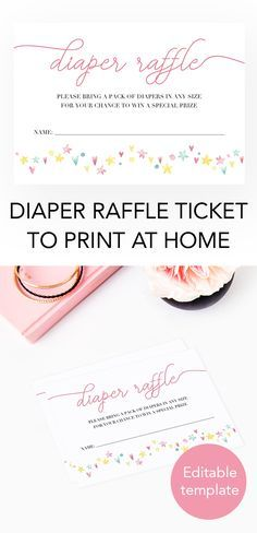 Baby shower diaper raffle ticket by LittleSizzle. Printable baby shower games. Editable diaper raffle cards. Pink diaper raffle for girl baby shower. Printable baby shower games. The charming poem on this hearts and stars Diaper Raffle ticket lets your gu