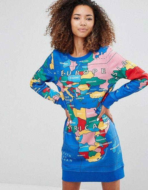 Love Moschino | Трикотажное платье с принтом карты мира Love Moschino