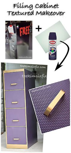 Filing Cabinet Makeover ... she used fluorescent plastic light diffusers to make a textured front on the cabinet doors, clever