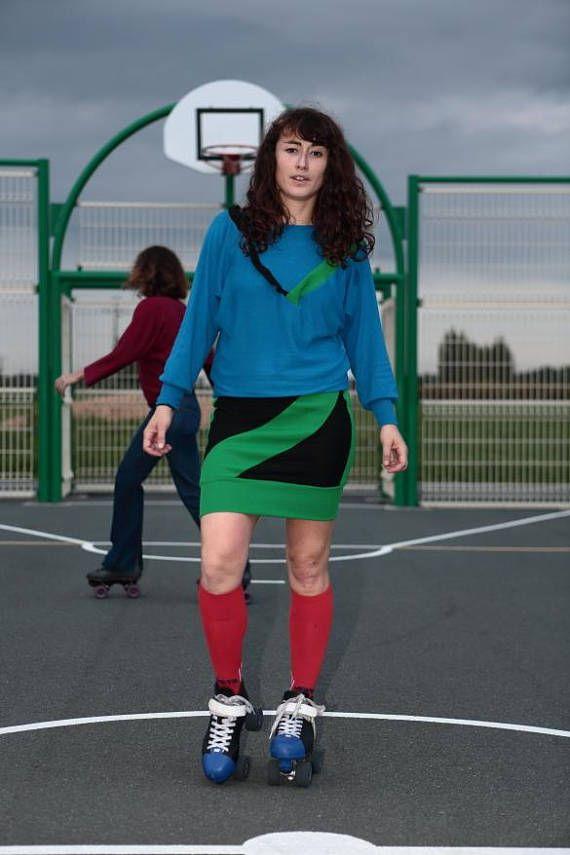 Robe pull/ style sportswear vintage 80 / black green blue