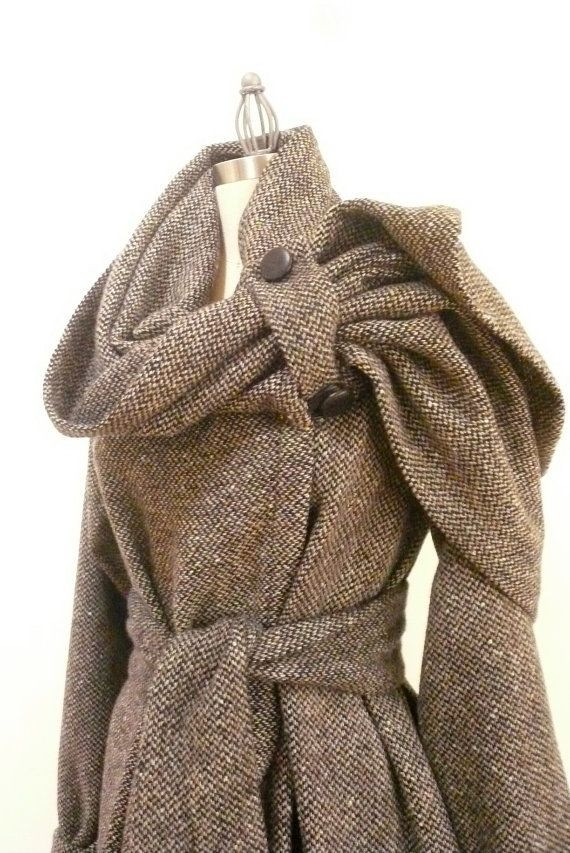 Maria Severyna Black Tan Off White Tweed Italian Wool thread  Jacket Coat Steampunk