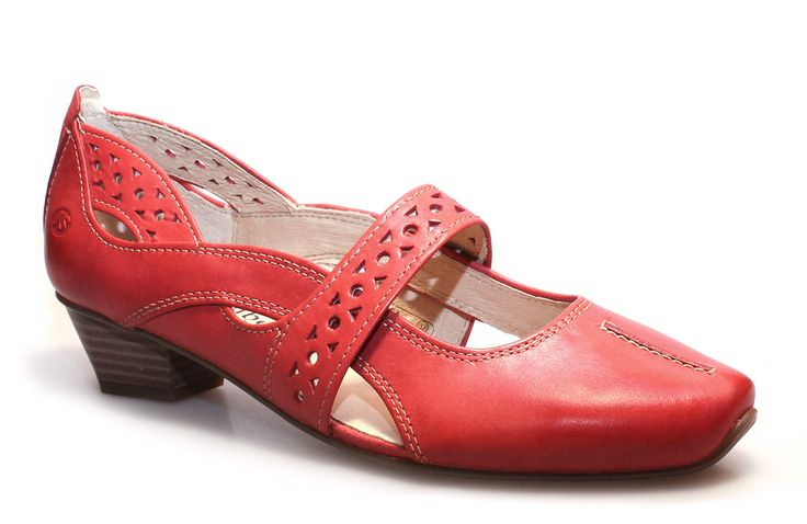 An alluring European dress shoe crafted from vibrant red leather.