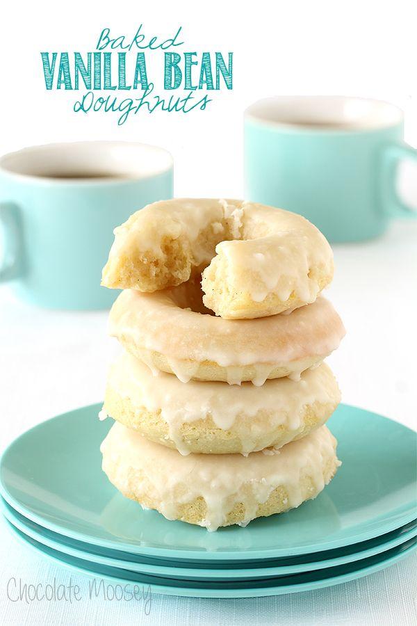Baked Vanilla Bean Doughnuts with Glaze |