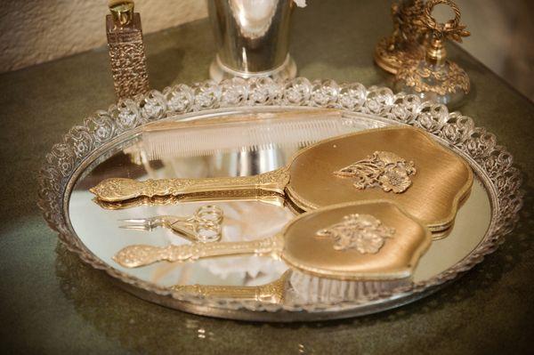 vanity silver tray, gold mirror/brush