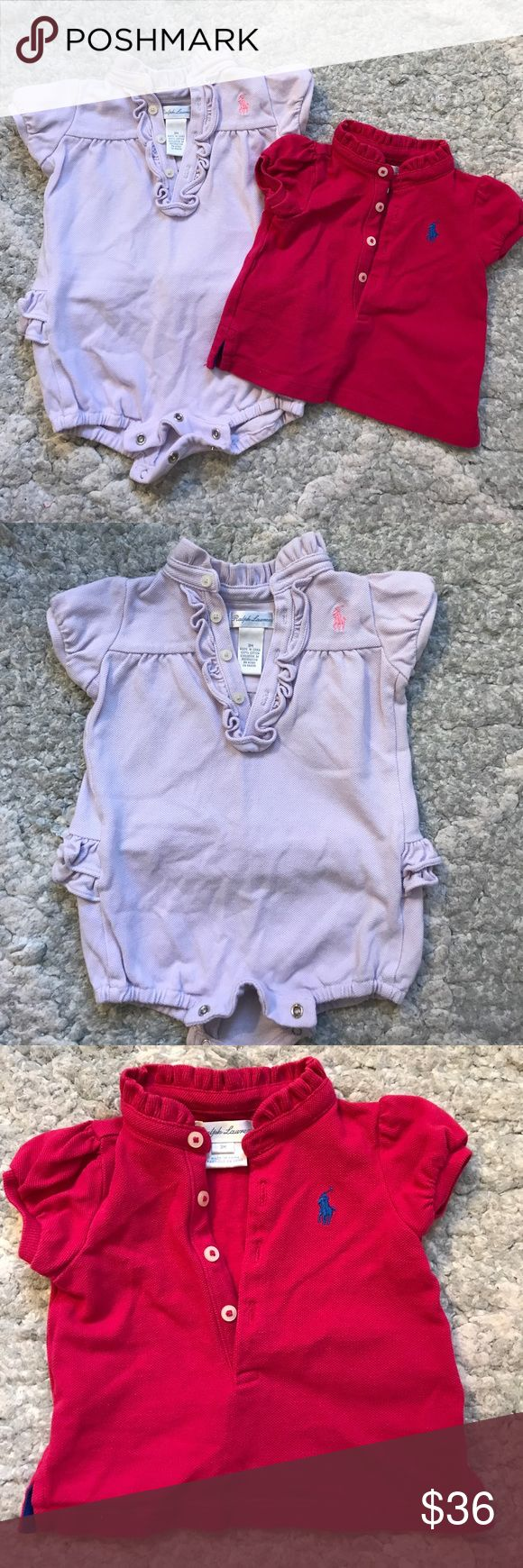 ralph lauren pink polo shirt & lavender romper. group of 2 baby girl clothing items. ralph lauren dark pink polo shirt with blue polo logo and ralph lauren lavender romper/onesie with pink polo logo.  both items have no holes, stains,rips. from a smoke free home. Ralph Lauren Shirts & Tops Polos