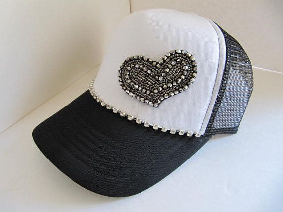 womens baseball caps with bling trucker hat black white crystal cap heart rhinestone ladies