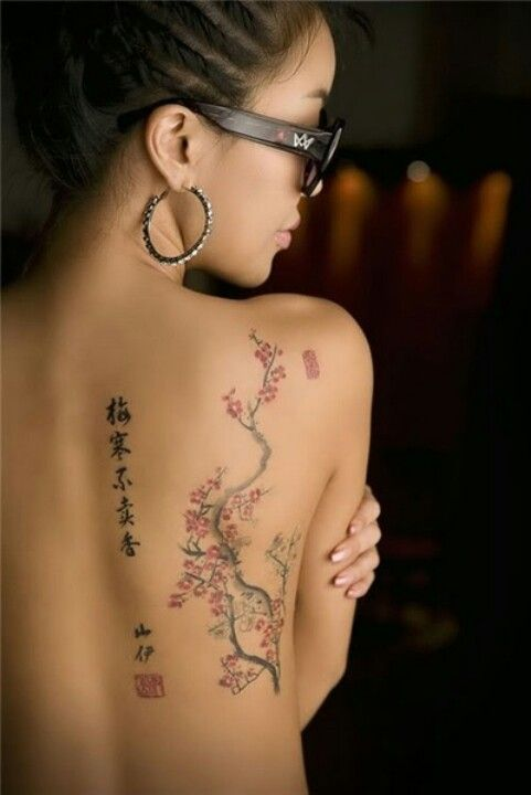 B A S I C A L L Y Cherry Blossom Tattoo; would like this if only it was on the lower side of the back .