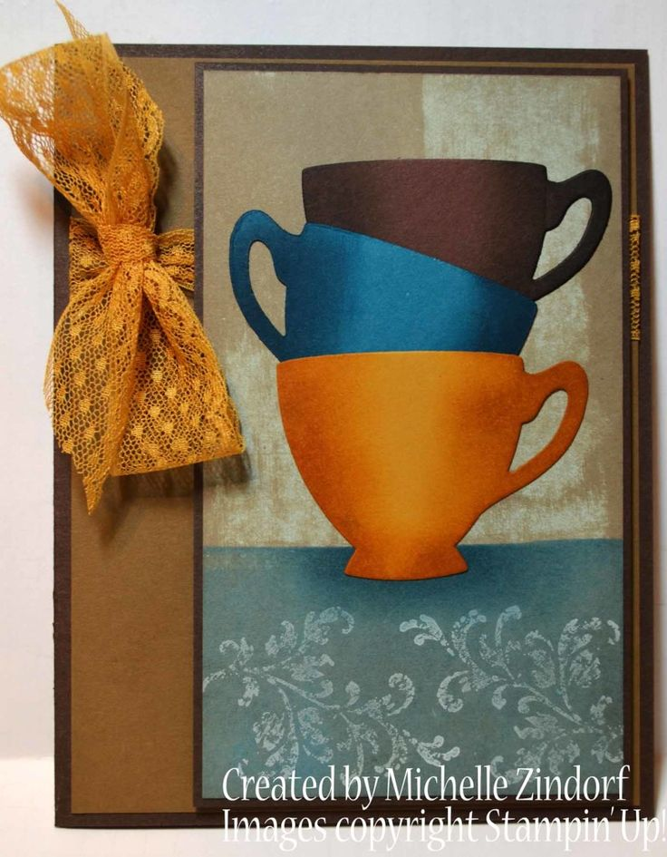 Stacked Up card created by Michelle Zindorf using Stampin' Up! products - Cups & Kettle Framelits Dies and Timeless Textures Stamp Set