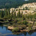 Malakoff Diggins State Historic Park - Nevada City, CA -- has basic KOA style cabins as well as tent sites.