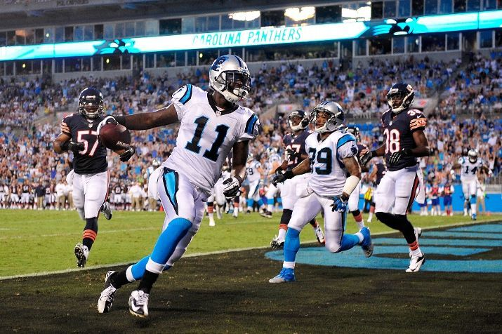 Brandon LaFell #11 of the Carolina Panthers scores a touchdown against the Chicago Bears during a preseason NFL game at Bank of America Stadium on August 9, 2013 in Charlotte, North Carolina. (Photo by Grant Halverson/Getty Images)
