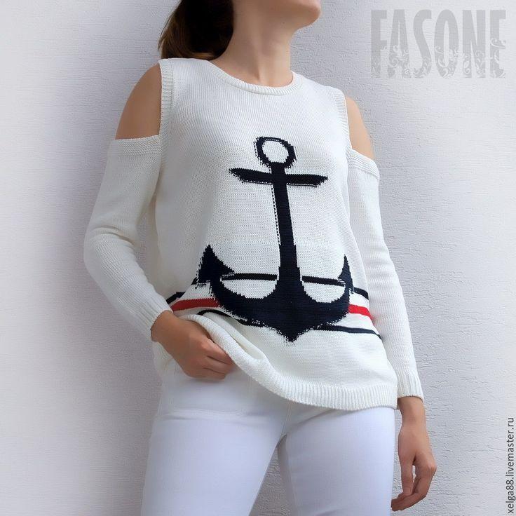 """Купить Свитер с якорем """"Морская прогулка"""". Свитер белый. Свитер женский - свитер…"""