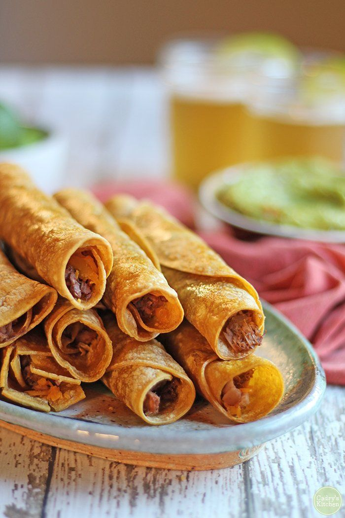 Vegan taquitos with jackfruit in the air fryer or oven