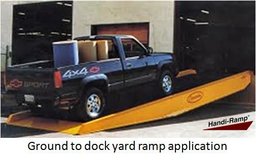 A ground-to-dock yard ramp rises from the ground at a straight, gentle angle and ends at a loading dock. Ground-to-dock ramps are around 30 feet long, making them simple and safe to navigate with a fully-loaded forklift. The ramp also features two solid wheels, either hydraulic or pneumatic, that allow the yard ramp to be easily adjusted. Chain brackets – loops at the sides of the ramp used to attach chains – are also available as a means of increasing mobility or securing the yard ramp to…