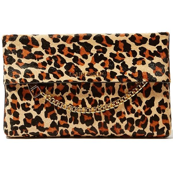Karen Millen Leopard Print Chain Detail Clutch Bag ($150) ❤ liked on Polyvore featuring bags, handbags, clutches, leopard, brown leather handbags, leather purses, special occasion clutches, leopard handbag and evening clutches