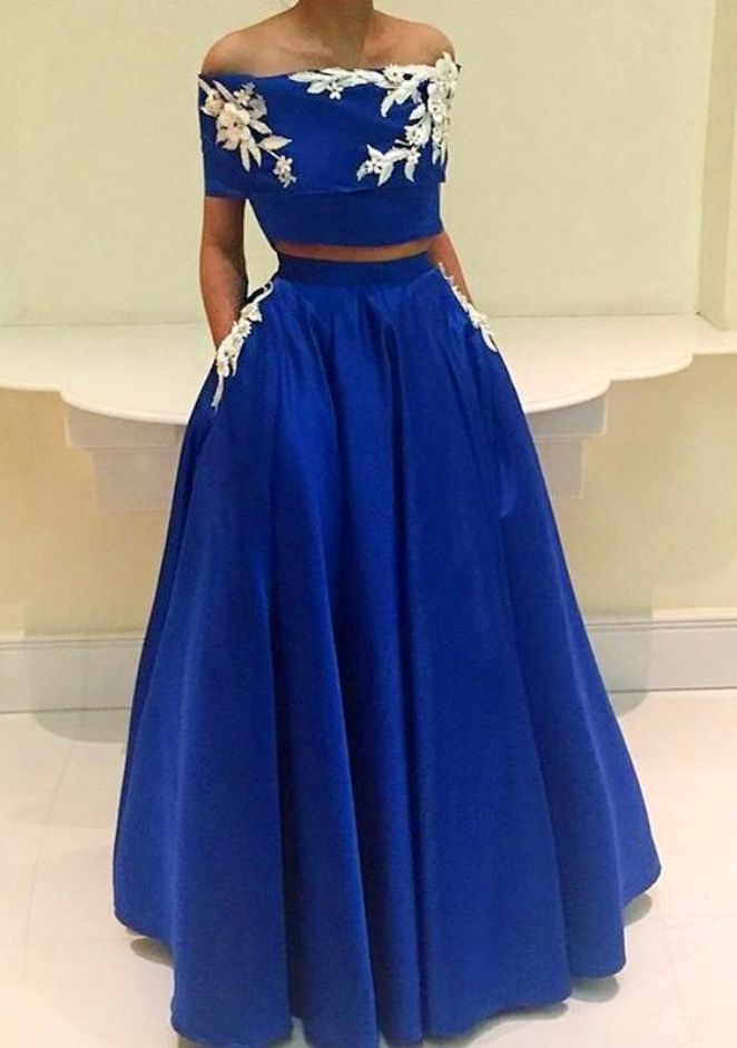Royal-Blue A-Line Two-Pieces Appliques Off-the-Shoulder Prom Dress #prom #promdress #dress #eveningdress #evening #fashion #love #shopping #art #dress #women #mermaid #SEXY #SexyGirl #PromDresses
