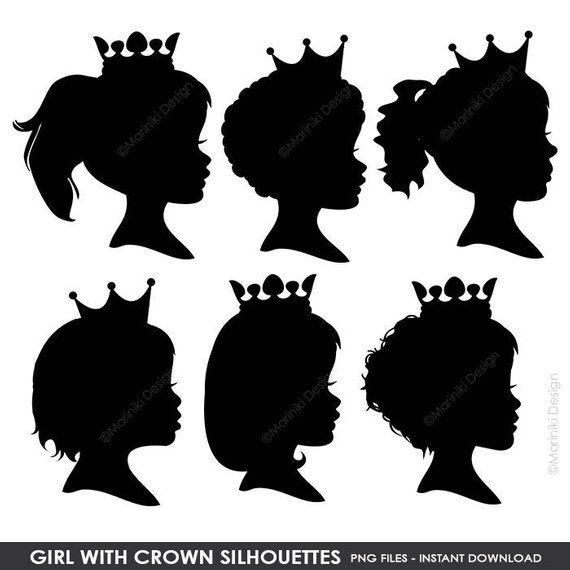 Girl With Crown Silhouettes Girl Silhouettes Princess Silhouette Silhouettes Clipart Digital Cli Crown Silhouette Girl Silhouette Silhouette Canvas