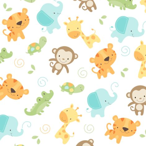 Jungle babies fabric by maudie baby graphics pinterest for Cute baby fabric prints