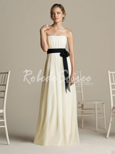 Robe Demoiselle D'honneur-Classique A-ligne bretelles des robes de demoiselle d\'honneur avec contraste Black Sash