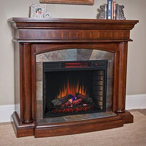 Wexford Wall or Corner Infrared Electric Fireplace in Brown Cherry - 18DM9038-PM92