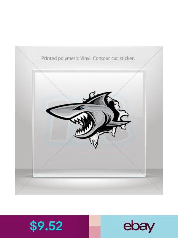 Decals Stickers Shark Tearing Atv Bike polymeric vinyl Garage st5 ZZ474