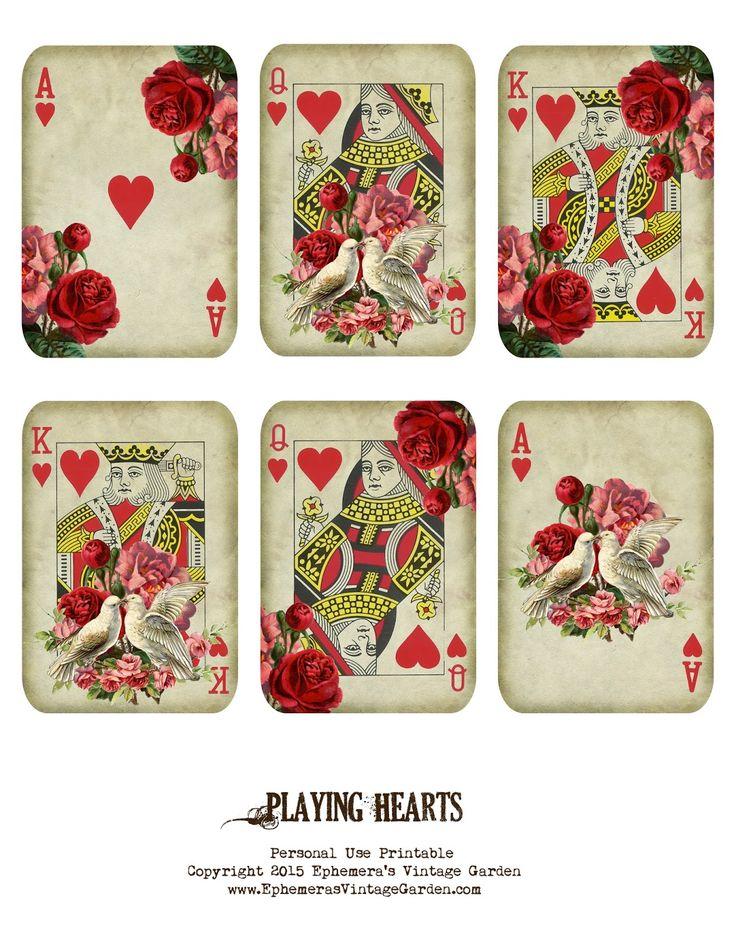 Ephemera's Vintage Garden- Valentine playing cards