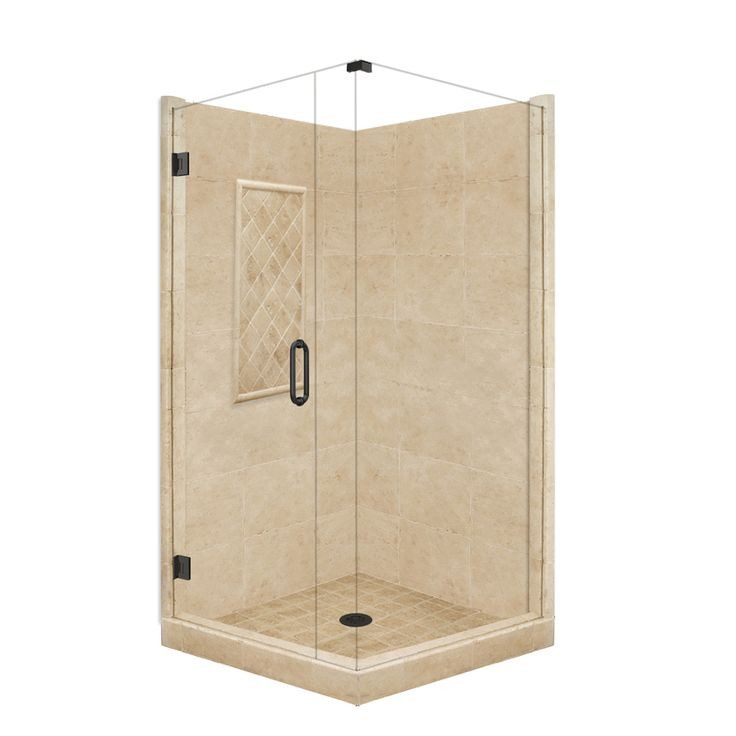 Shop American Bath Factory Panel Medium Fiberglass and Plastic Square Corner Shower Kit (Actual: 86-in x 36-in x 48-in) at Lowes.com