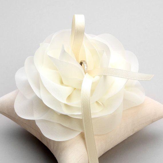 Wedding ring pillow, bridal ring pillow, flower ring pillow - Aria
