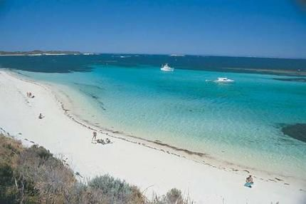 One of the spectacular fine white sand beaches on Rottnest Island.