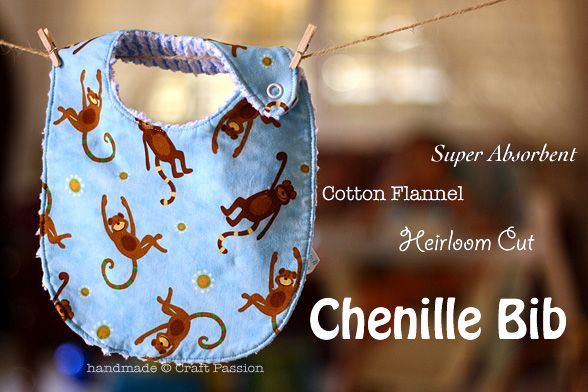 """Heirloom Cut Chenille Bib (explains how to make soft & absorbent """"chenille"""" by cutting through layers of cotton flannel)"""