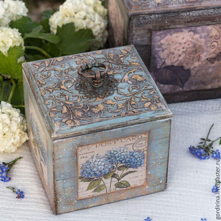 "Купить набор "" Ma fleur preferee"" - голубой, коричневый, позолота, прованс, гортензия, короб"