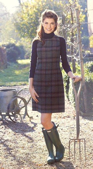 Roll neck, £65, hobbs.co.uk; British tweed shift, £139, boden.co.uk; Hunter green wellingtons, £79, my-wardrobe.com