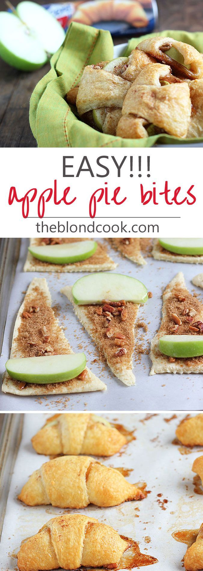 EASY Apple Pie Bites made with crescent rolls. Great idea for party food and a fun project to do with kids!