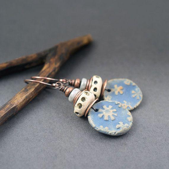 tribal earrings • rustic ceramic earrings • flower design • artisan ceramic discs • ethnic jewelry • pale blue • ivory • circle earrings