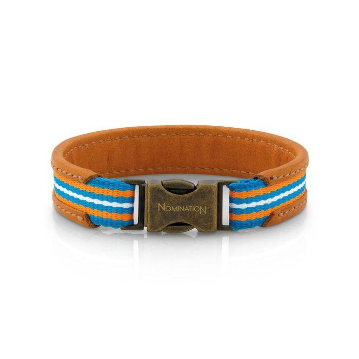 Nomination Brown Leather & White & Orange Cotton Bracelet 131200/002 | John Greed Jewellery