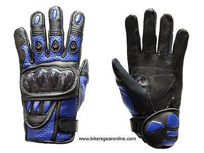 MEN'S MOTORCYCLE RACING PADDED LEATHER BLUE GLOVES W/ HARD KNUCKLES PROTECTION
