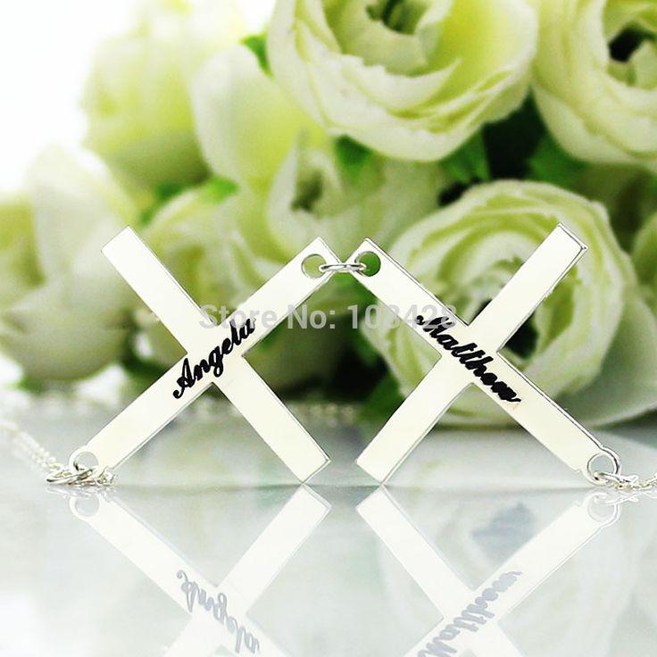 Индивидуальные Двойной Крест Имя Ожерелье Стерлингового Серебра Греческого Креста Кулон 2 Имя Ожерелье Свадебные Подарки Для Пары