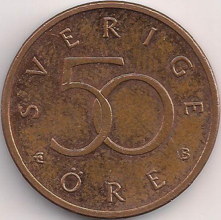 Wertseite: Münze-Europa-Nordeuropa-Schweden-Krona-0.50-1992-2009