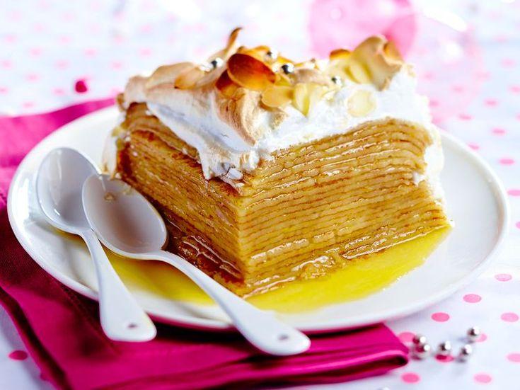 Découvrez la recette Gâteau de crêpes au citron meringué sur cuisineactuelle.fr.