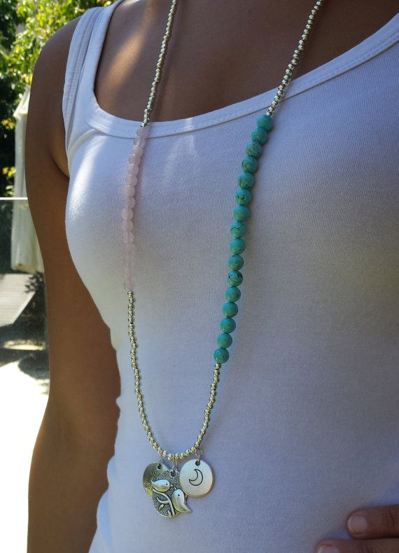 Handmade Turquoise & Rose Quartz Necklace by BeanCreationsbyGill, $25.00